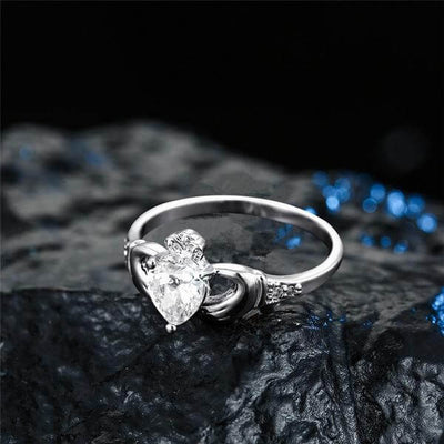 Claddagh Love Ring on a black background