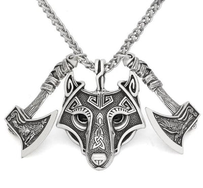 Double Axe Wolf Head Pendant
