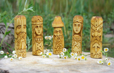 Odin, Freya, Thor, Frigg and Tyr Wooden Altar