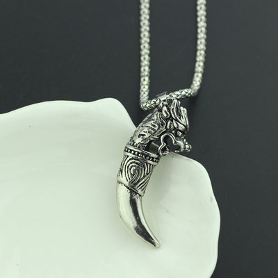 Stainless Steel Fenrir Wolf  Tooth  Necklace
