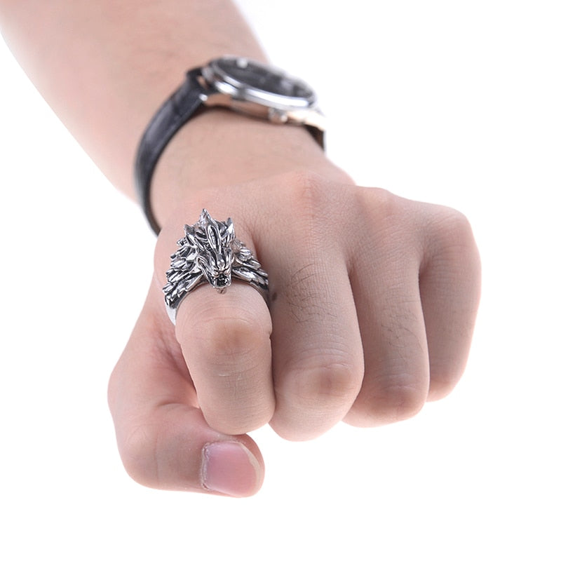 Punk  Wolf Head Ring