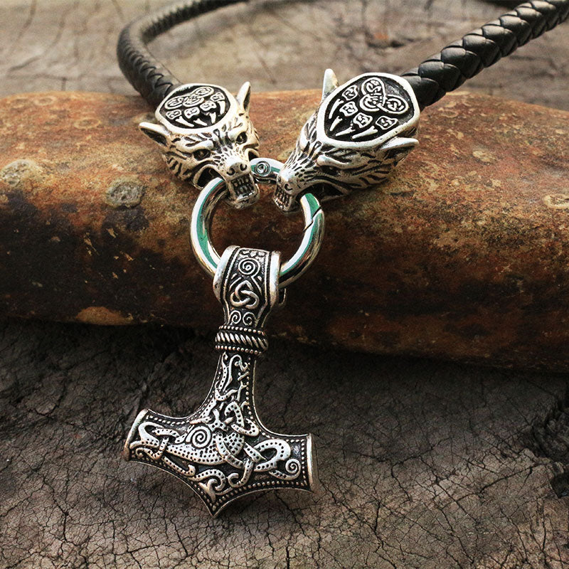 Thor's Hammer Leather Necklace