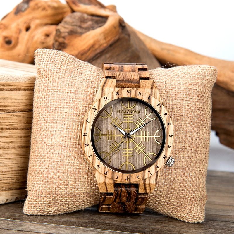 Viking Wooden Wooden Watch with Helm of Awe Symbol