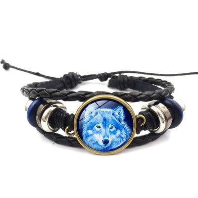 Howling Wolf Leather Bracelet