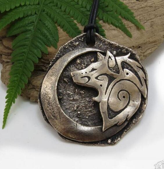 Moon Crescent Woolf Pendant
