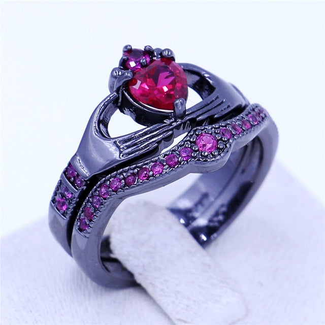 Red  Birthstone Claddagh Ring