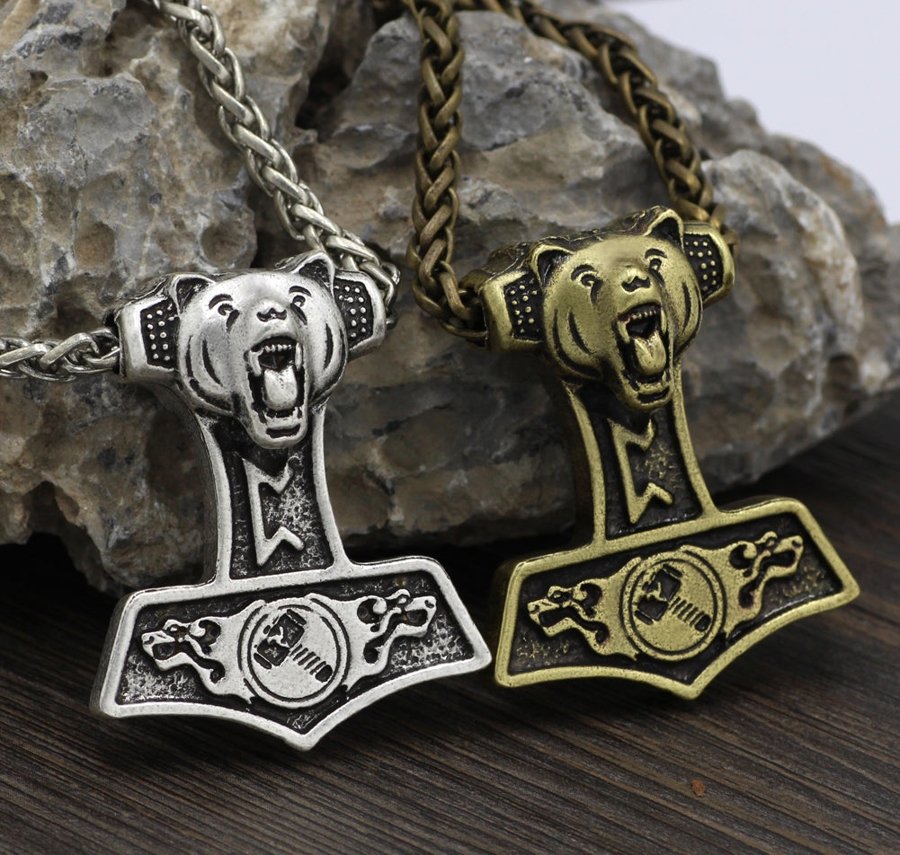 Bear Head Mjolnir Necklace