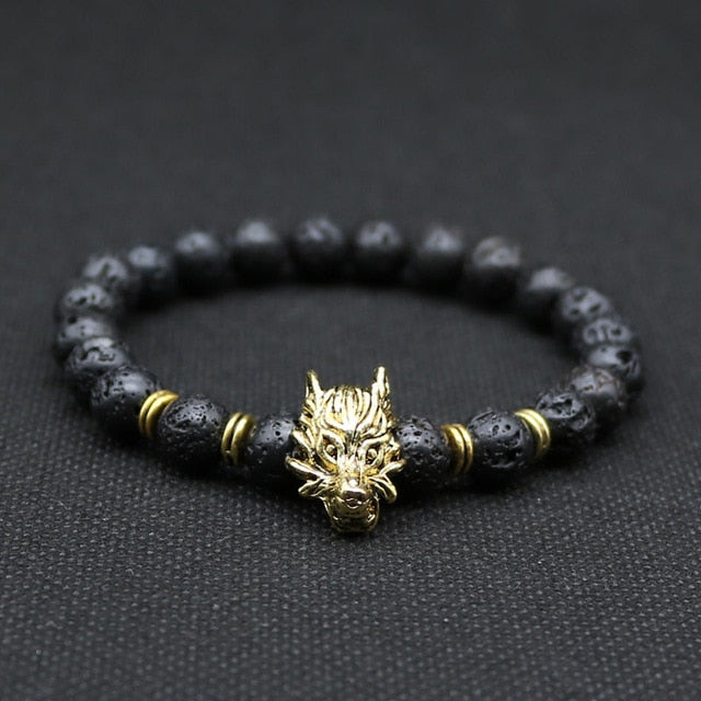 Wolf Head and Lava Stone Bracelet