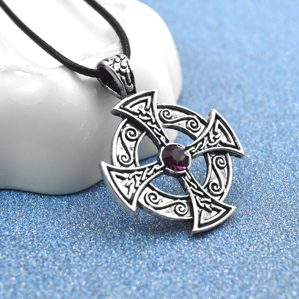 Silver Celtic Cross Necklace on a white background