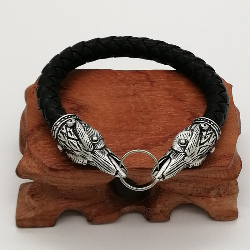 Viking Raven Leather Amulet