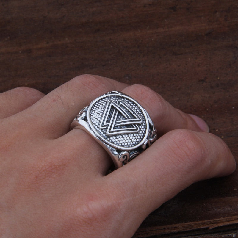 Valknut Adjustable Ring on a hand