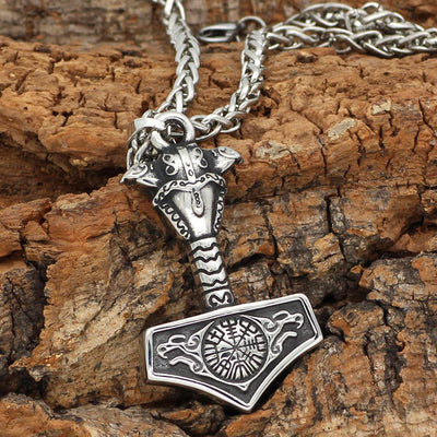 Geri and Freki Thor's Hammer  Necklace