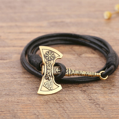 Viking Double Axe  Leather Bracelet