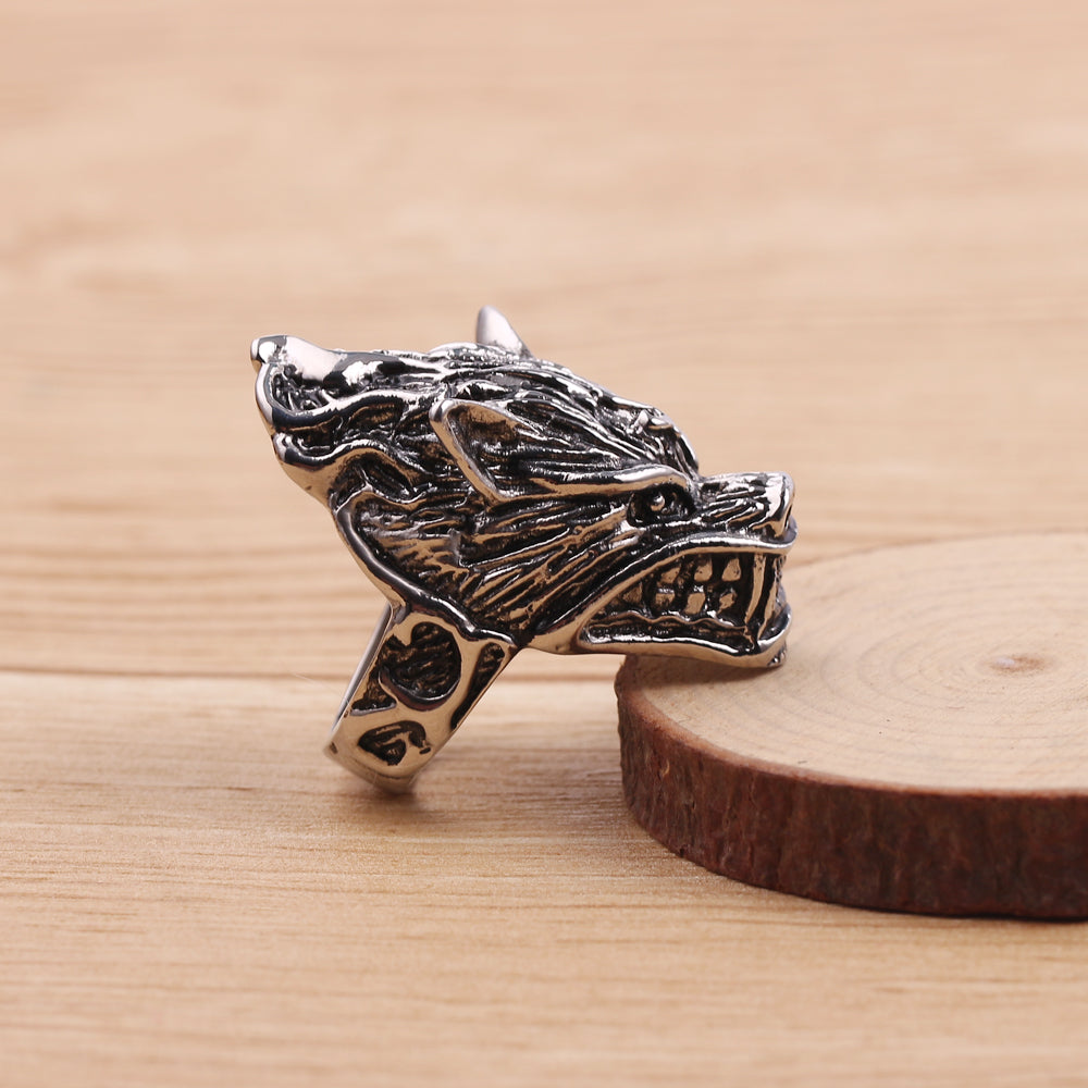 Wolf Head Men's Ring