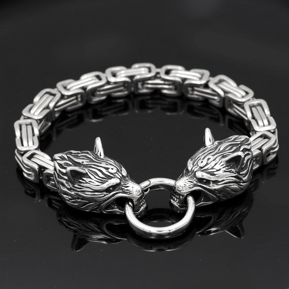 King chain  wolf head bracelet