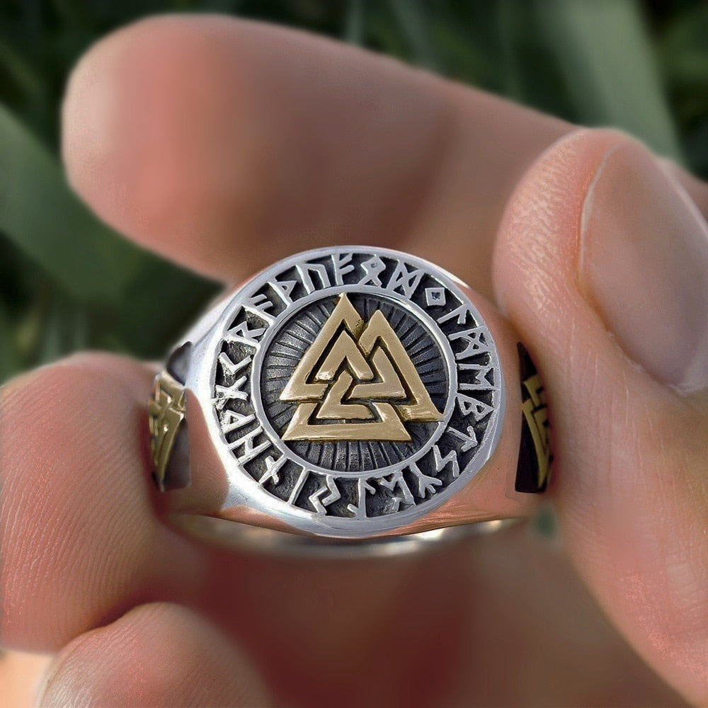 Stainless Steel Valknut Men's  Rings