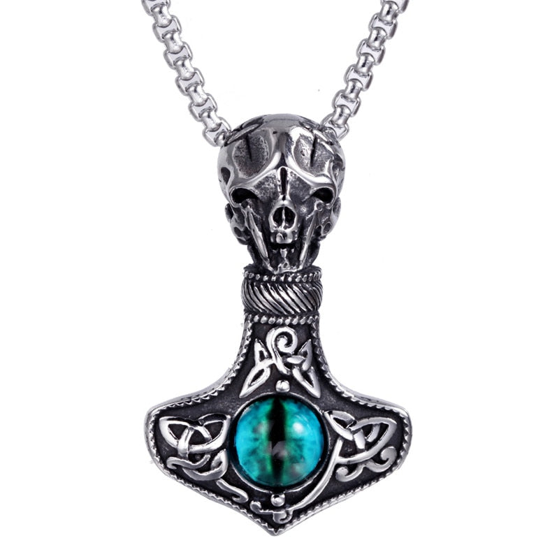 Huge Wolf Thor Hammer Necklace