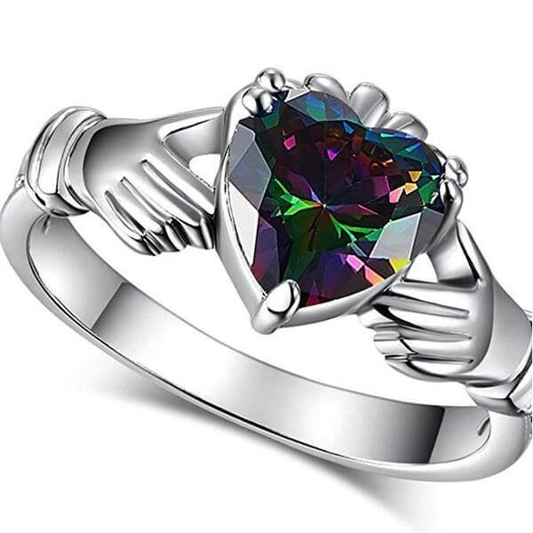 Rainbow Heart Claddagh Ring