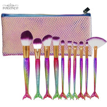Load image into Gallery viewer, Mermaid Makeup Brush Set 10pcs-hair straightener,[product_type]-brush,SIMPLICITY Hair and Beauty -SimplicityHair&Beauty,Brushes with Case-black,Brushes with Case-hair-brush,[option2]-hair-curler,[option3]-flat-iron