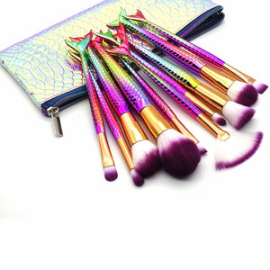 Mermaid Makeup Brush Set 10pcs-hair straightener,[product_type]-brush,SIMPLICITY Hair and Beauty -SimplicityHair&Beauty,[variant_title]-black,[option1]-hair-brush,[option2]-hair-curler,[option3]-flat-iron