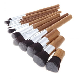 Bamboo Makeup Brush Set 11pcs-hair straightener,[product_type]-brush,SIMPLICITY Hair and Beauty -SimplicityHair&Beauty,[variant_title]-black,[option1]-hair-brush,[option2]-hair-curler,[option3]-flat-iron