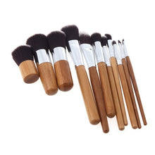 Load image into Gallery viewer, Bamboo Makeup Brush Set 11pcs-hair straightener,[product_type]-brush,SIMPLICITY Hair and Beauty -SimplicityHair&Beauty,[variant_title]-black,[option1]-hair-brush,[option2]-hair-curler,[option3]-flat-iron