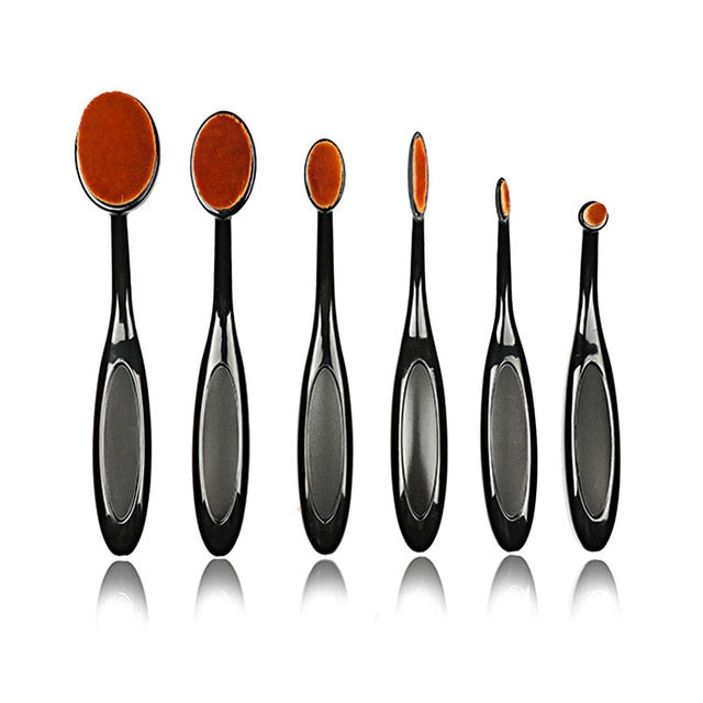 Oval Makeup Brush Set-hair straightener,[product_type]-brush,SIMPLICITY Hair and Beauty -SimplicityHair&Beauty,Black without box-black,Black without box-hair-brush,[option2]-hair-curler,[option3]-flat-iron