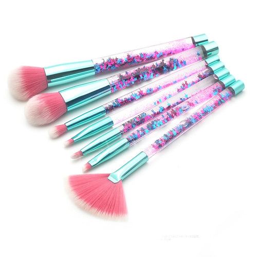 Glitter Liquid Handle Makeup Brush Set-hair straightener,[product_type]-brush,SIMPLICITY Hair and Beauty -SimplicityHair&Beauty,[variant_title]-black,[option1]-hair-brush,[option2]-hair-curler,[option3]-flat-iron