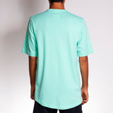 Back view of Crew Shirt Mint by Holystoked worn by a Bangalorean skateboarder.