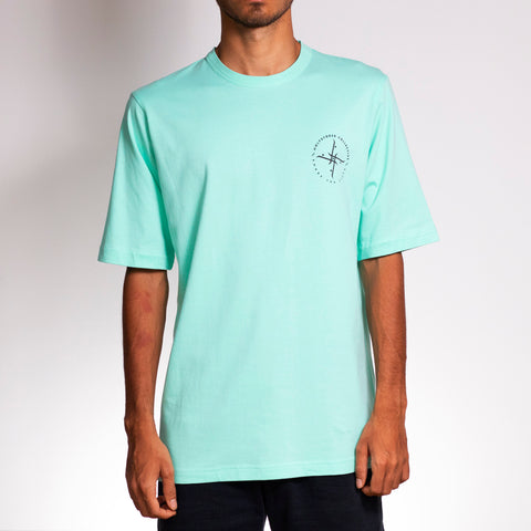 Bangalore skateboarder wearing crew shirt in mint colour by Holystoked.