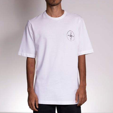 Skateboarder wearing skate Crew Shirt White by Holystoked.
