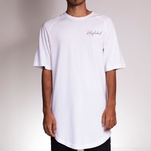Dandruff White long tee, worn by an Indian skateboarder.