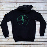 Holystoked Apparel - green logo hoodie from rear view.