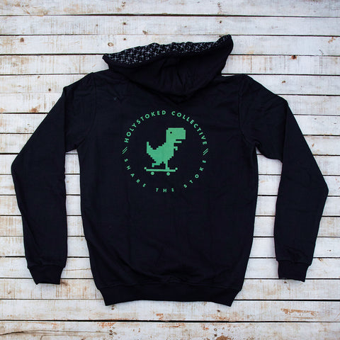 Holystoked Apparel offline - hoodie from the rear view with artwork in green.
