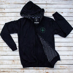 Front view of Holystoked Collective's Offline Hoodie. with green logo.