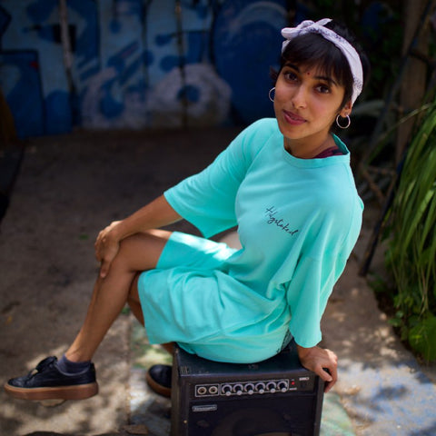 Model wearing Mint Kong T-shirt by Holystoked Bangalore.
