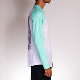 Side view of skater wearing Poser Mint t-shirt by Holystoked.
