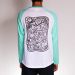 Rear view of skater wearing Poser Mint by Holystoked, with skate-art.