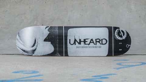 Unheard Logo TV Table Skateboard Deck Graphic