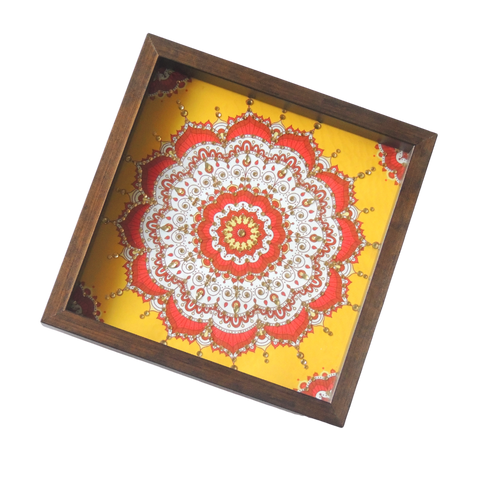 ArtzNColours Handmade Designer Mandala Design for Home & Kitchen / Designer Tray for Gift