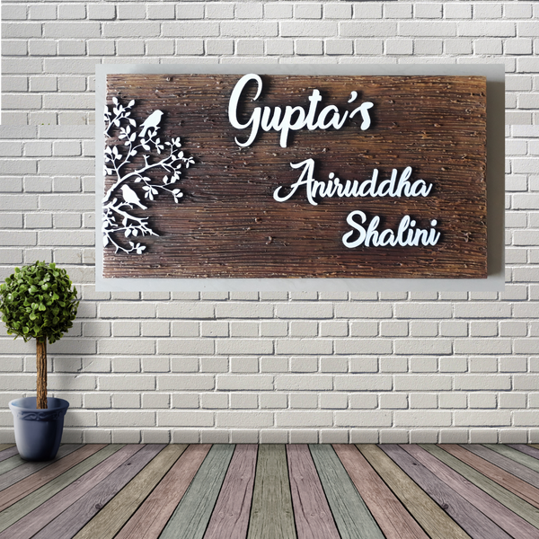 ArtzNColours Wooden Personalized Name Plate (15x9 inch_Brown)…