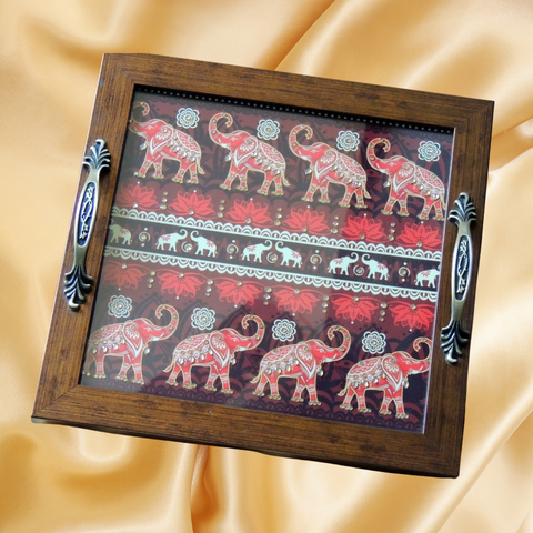 Artz N Colours Handmade Designer Tray for Home & Kitchen / Designer Tray for Gift| Elephant design tray