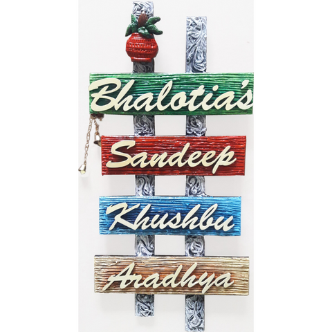 Artz N Colours Four Panel Name Plate | family Name Plate