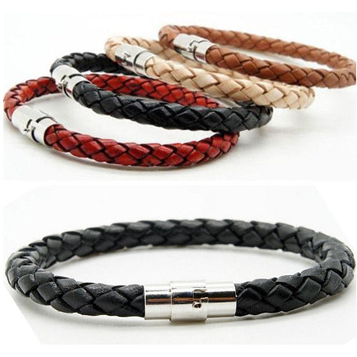 Woven bracelet 1 piece couple bracelet Magnetic Clasp Men  Women Braided Leather Steel Leather Leather rope Unisex