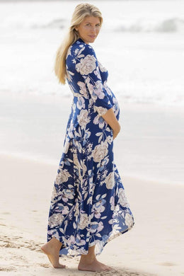 Maive & Bo Harper Maternity & Nursing Wrap Dress in Navy Floral