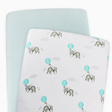 Load image into Gallery viewer, 2-Pack Jersey Moses/Pram Fitted Sheets - Dream Big/Aqua Stripe