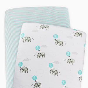 2-Pack Jersey Moses/Pram Fitted Sheets - Dream Big/Aqua Stripe