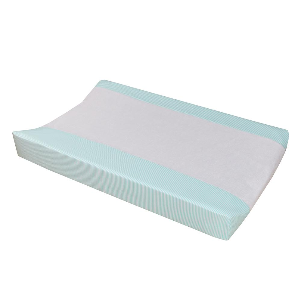 Jersey Change Pad Cover - Aqua Stripe