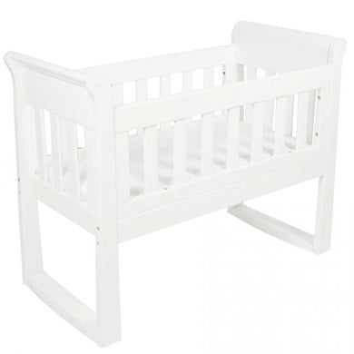 Sandton Sleigh Cradle, Bassinet and Rocking Seat & FREE Mattress - White