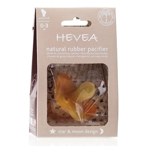 Hevea Natural Rubber Pacifier 0-3 months Star & Moon